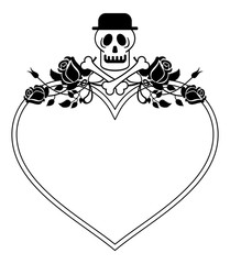 Black and white heart shaped frame with skull in hat and roses. Vector clip art.