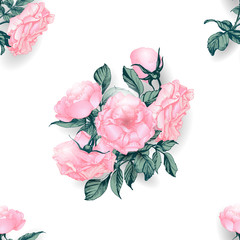 Seamless floral pattern with a blossoming branch of rose. Vector Illustration