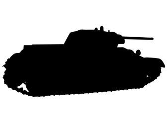 Wall Mural - Big old tank on a white background