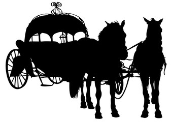Converted coach with horses on a white background