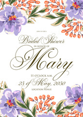 Wedding invitation card with romantic tropical flower
