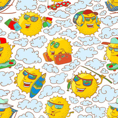 Vector seamless pattern with sun characters in summer activity
