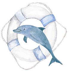 marine theme. Watercolor.  Life ring, Dolphin