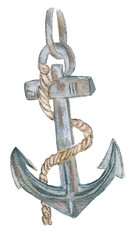 Marine. Watercolor.  Anchor