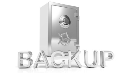 3D rendering of closed Safe with Backup text , isolated on white background.