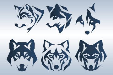 Illustration of dark blue wolf head logo on blue background