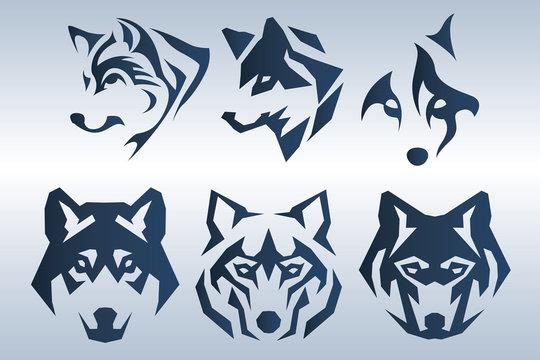 Illustration of dark blue wolf head logo on blue background