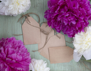 Pink and white peony with rough tag on wooden background