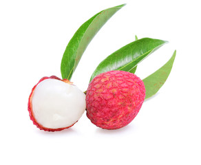 Fresh lychees and leaves isolated on white background