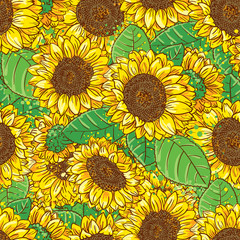 Vector seamless pattern with sunflowers in doodle style