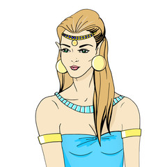 Vector illustration portrait of an elven princess