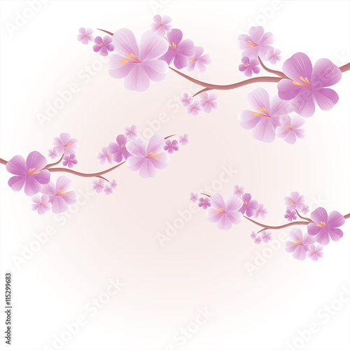 Apple tree flowers branches of sakura with purple flowers isolated apple tree flowers branches of sakura with purple flowers isolated on light pink yellow color mightylinksfo
