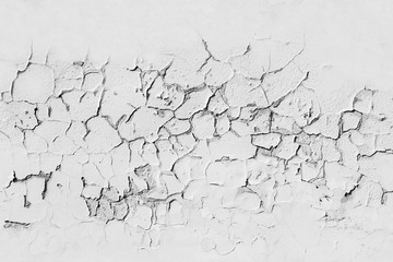 Fototapete - White concrete wall with cracked flaking paint