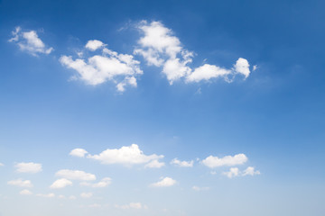 Cumulus clouds in blue sky, natural photo