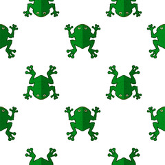 Seamless Cartoon Frog Pattern. Animal Green Background