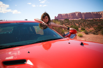 woman driver in desert