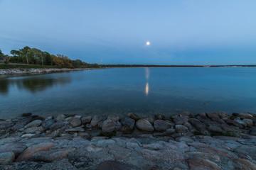 Baltic sea landscape in moonlight