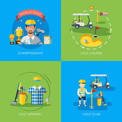 Wall Mural - Golf 2x Flat Icons