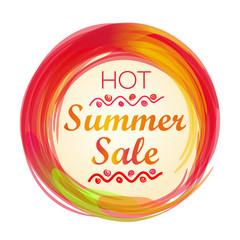 Hot summer sale lettering. Summer sale banner. Vector illustration