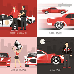 Street Racing Cocept 4 Flat Icons