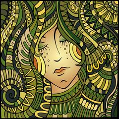 Vector decorative beautiful girl portrait illustration