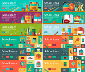Vector collection of flat education design concepts. Horizontal banners set with school items.