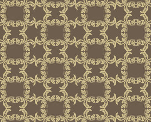 Vector Vintage Damask floral classic pattern ornament. Vector background for cards, web, fabric, textures, wallpapers, tile, mosaic. Beige and brown color