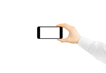 Man hold phone blank screen mockup in hand, taking photo and video. Clear display smartphone mockup taking self shot, selfie photography. Empty monitor smart cell phone hand taking selfie picture men.