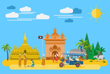 Flat design, Laos landmarks and icons