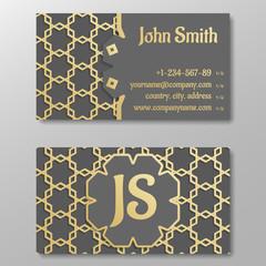 Business card template, gold arabic pattern