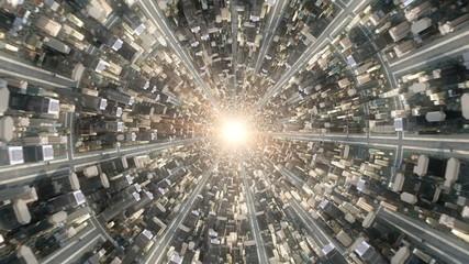 Conceptual flytrough over the fantastic city underworld. 3d rendering