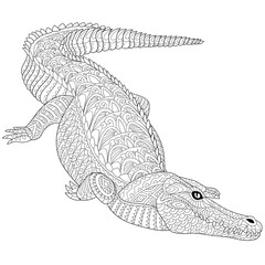 Zentangle stylized cartoon crocodile (alligator) isolated on a white. Hand drawn sketch for adult antistress coloring page, T-shirt emblem, logo, tattoo with doodle, zentangle, floral design elements