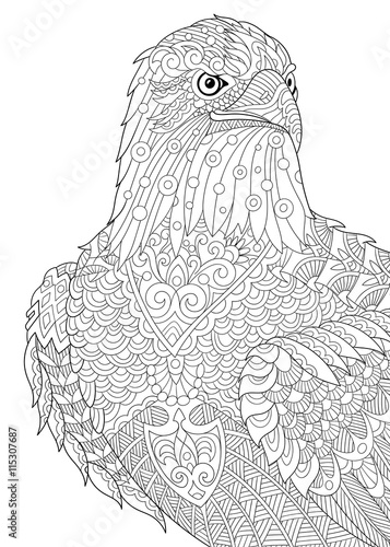 Zentangle Stylized Cartoon Eagle Of Prey Hawk Falcon Osprey Hand Drawn