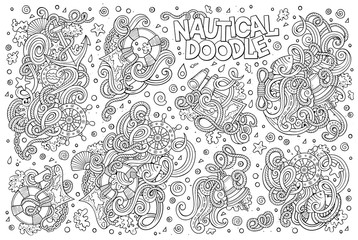 Set Of Marine Nautical Objects And Symbols