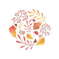 Set of autumn nature watercolor elements