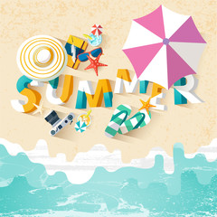 Summer holiday illustration with lettering.