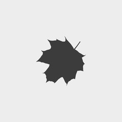 Maple leaf icon in a flat design in black color. Vector illustration eps10