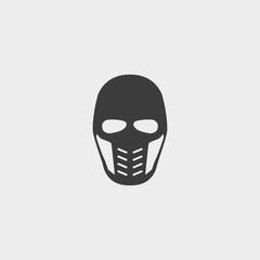 Supervillain mask icon in a flat design in black color. Vector illustration eps10