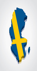3D vector Flag Map of Sweden