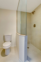 White bathroom interior with glass shower and toilet.