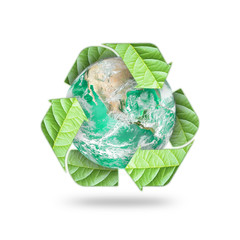 Recycle arrow symbol eco leaves protecting green planet: Reduce reuse recycle csr symbolic icon: Element of the image furnished by NASA