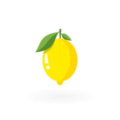 Fresh lemon with leafs isolated on white.