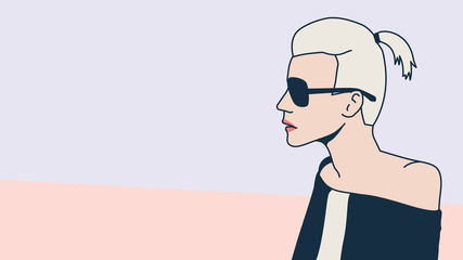 Fashion Blonde. Minimalism. Pop art style.