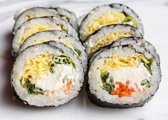 Kimbap or kimbop Korean food, rice roll