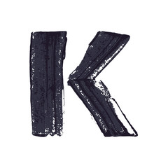 Letter K logo hand drawn with dry brush.