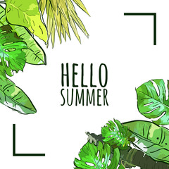 Vector square frame with hand drawn tropical palm tree leaves. Summer nature background with green leaves. Design template for banner, poster, invitation card.