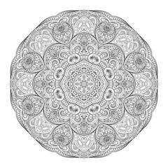 Vector Beautiful Deco Monochrome Contour Mandala