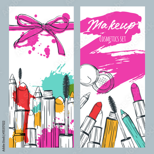 Vector banners with doodle illustration of makeup cosmetics and lipstick smears. Beauty and makeup background with lipstick, mascara, powder.