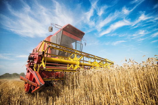 Close up of a harvester cropping the field.
