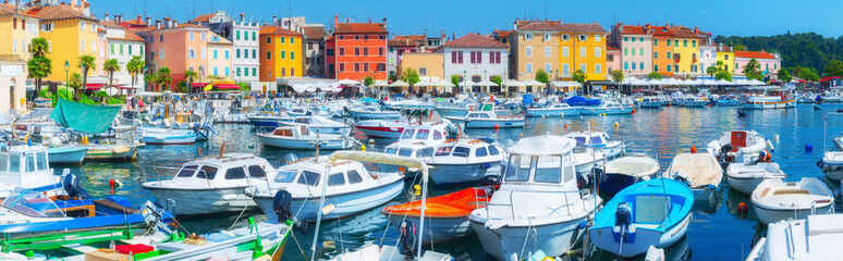 Printed kitchen splashbacks City on the water Panorama ancient town on the Adriatic Sea. Terracotta roo
